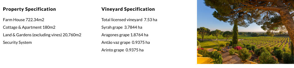 Vineyard Specification Total licensed vineyard  7.53 ha Syrah grape  3.7844 ha  Aragones grape 1.8764 ha Antão vaz grape  0.9375 ha Arinto grape  0.9375 ha  Property Specification Farm House 722.34m2 Cottage & Apartment 180m2 Land & Gardens (excluding vines) 20,760m2 Security System